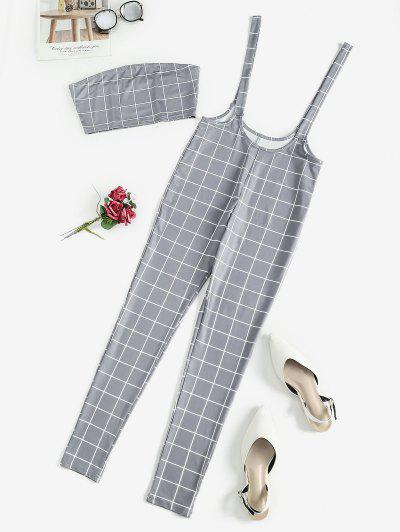 Checked Bandeau Top And Suspender Pants Set - Gray L