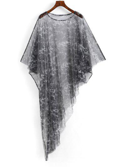 Poncho Tie Dye Sheer Mesh Beach Dress - Black