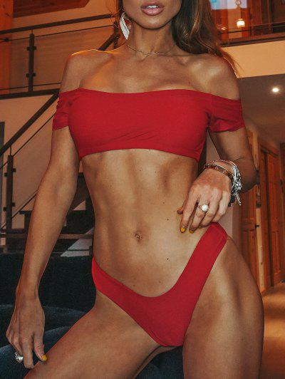 Bikini En String à Epaules Dénudées Et Motif De Laitue  - Rouge M