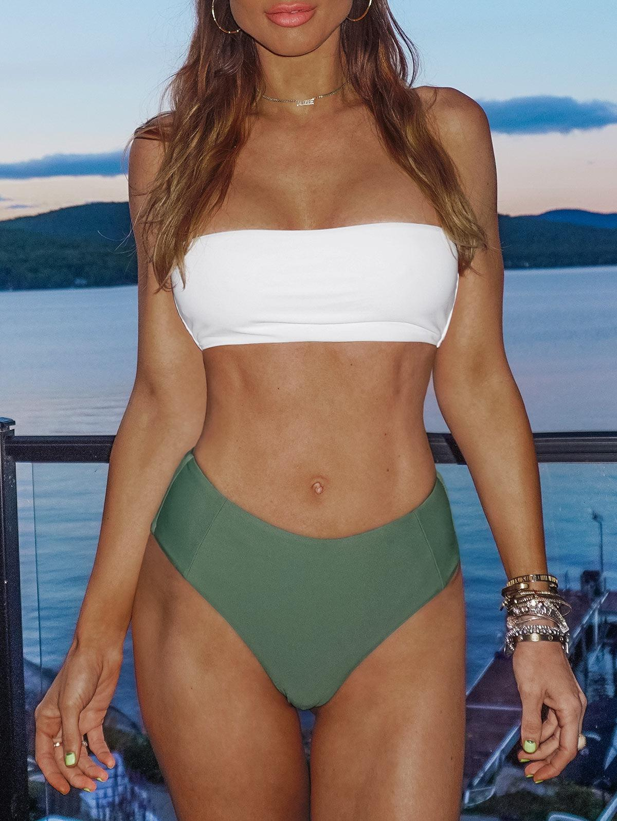 Zaful coupon: High Cut Two Tone Bandeau Bikini Set