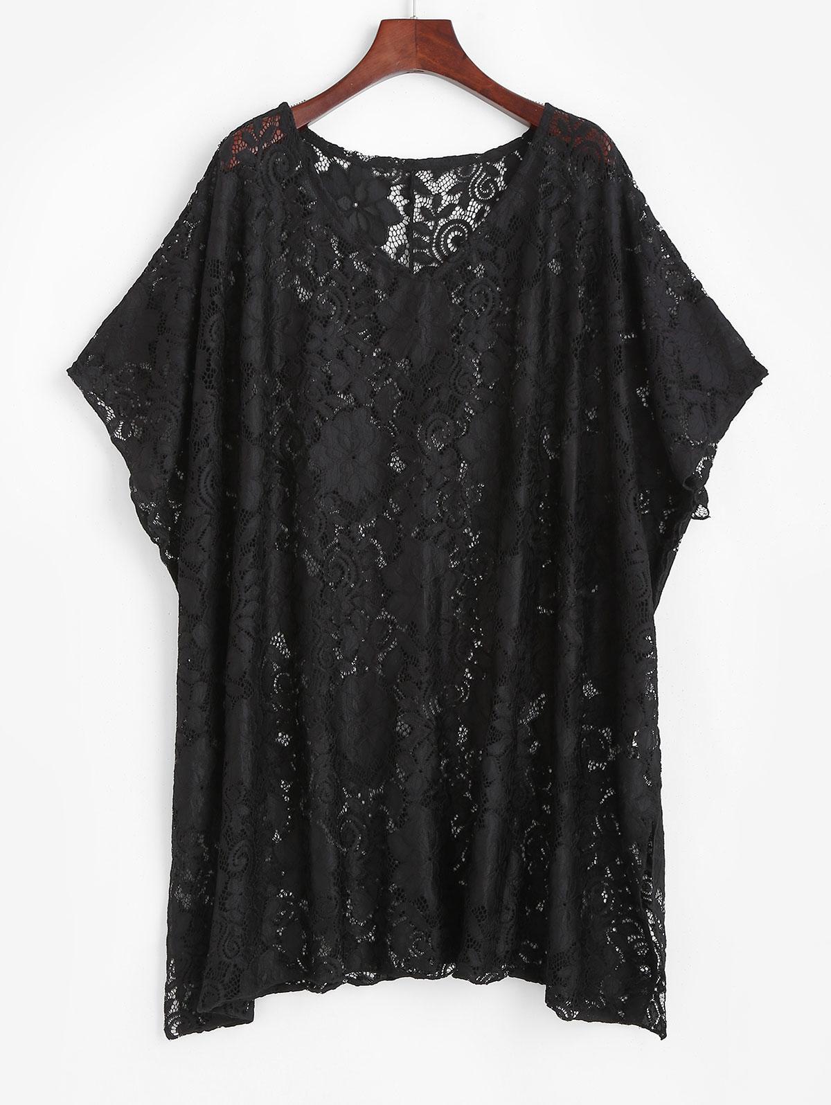 Robe de Plage Tunique Large en Dentelle TransparenteSurdimensionné Taille unique - Zaful FR - Modalova