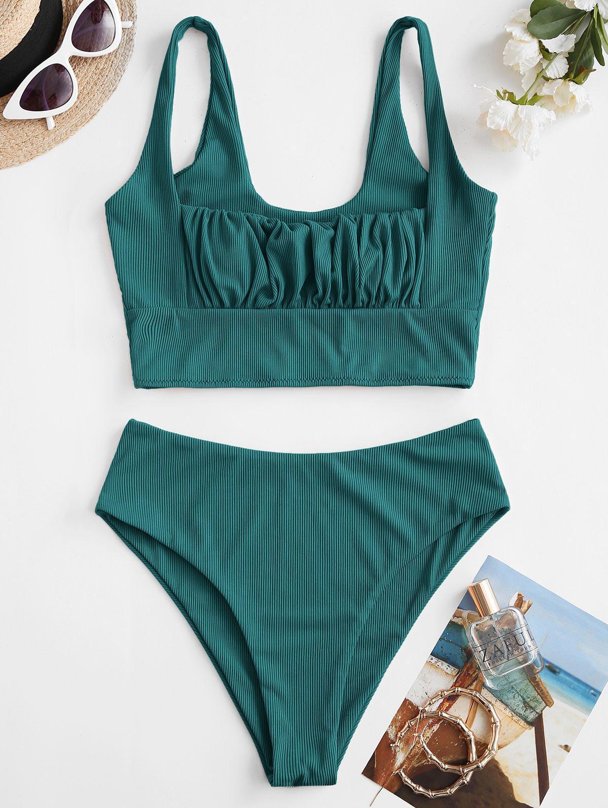 ZAFUL Square Ribbed Ruched Tankini Swimwear