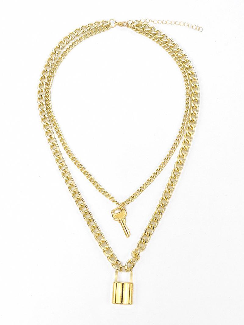 zaful Key Lock Pendant Layered Necklace