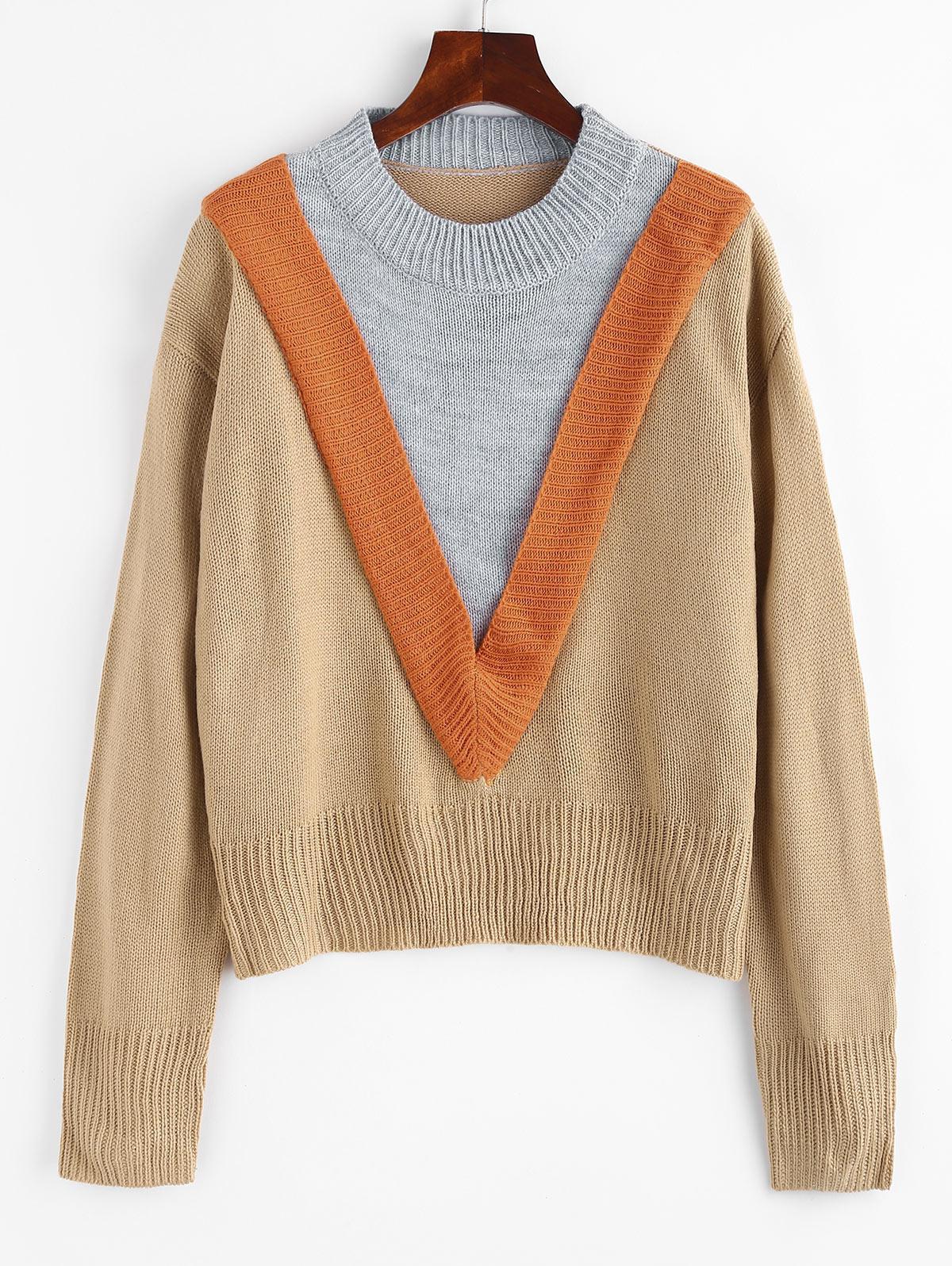 Zaful Crew Neck Colorblock Sweater