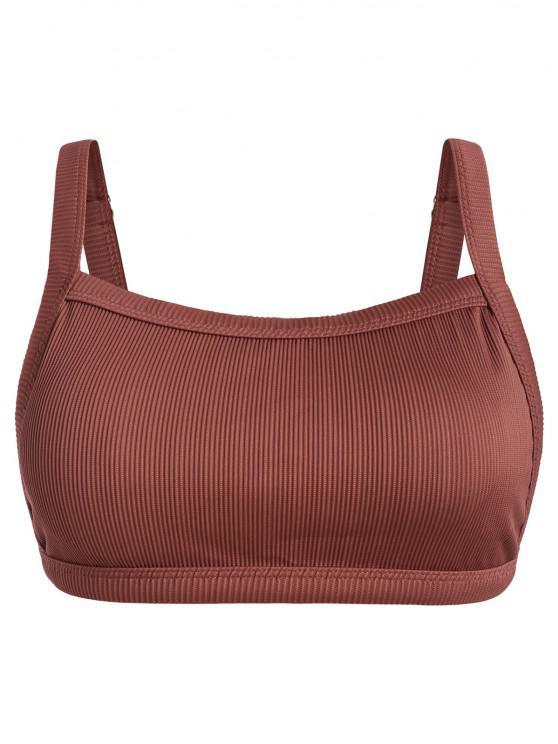 lady ZAFUL Plus Size Textured Ribbed Bikini Top - RED XL