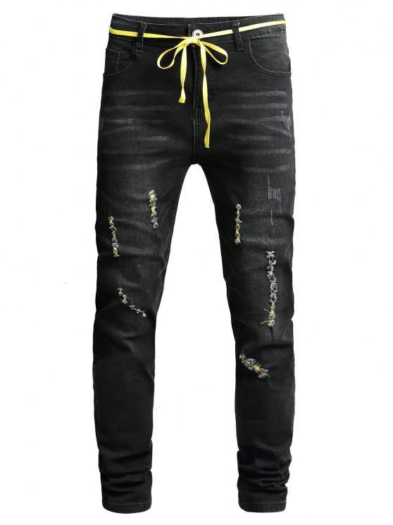 Ripped Zip Fly Scratch Long Jeans - أسود 36