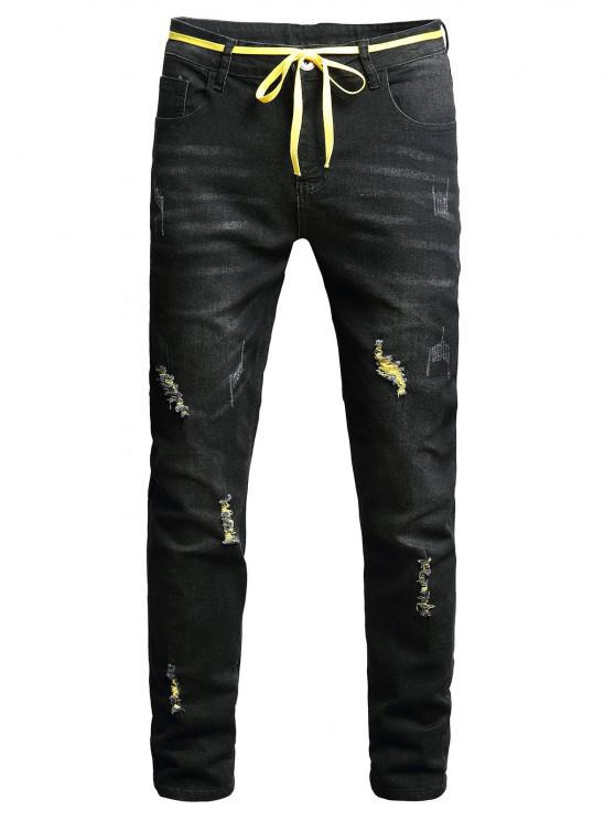 Distressed Long Zip Fly Ripped Jeans - أسود 34