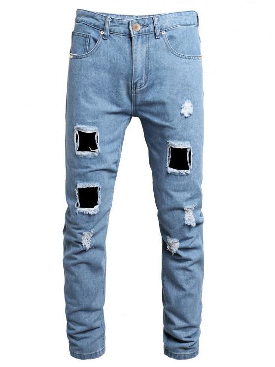 Distressed Destroy Wash Ripped Long Jeans - جينز ازرق 36