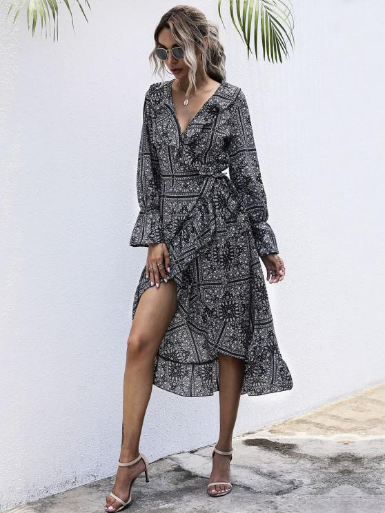 ladies Flounce Tribal Print Midi Wrap Dress - BLACK M