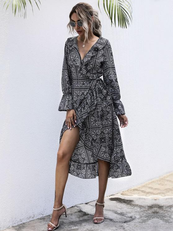 lady Flounce Tribal Print Midi Wrap Dress - BLACK XL
