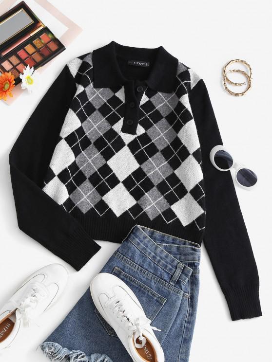 unique Pullover Button Front Plaid Sweater - BLACK M