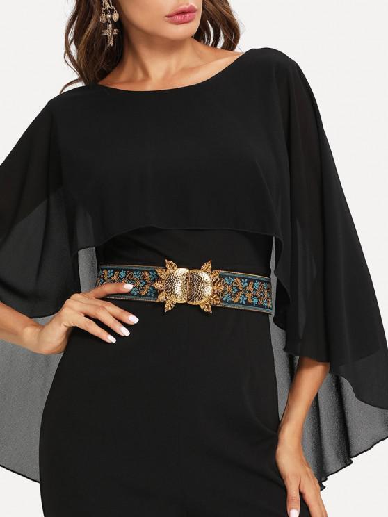 outfit Retro Floral Dress Cinch Belt - MULTI-A