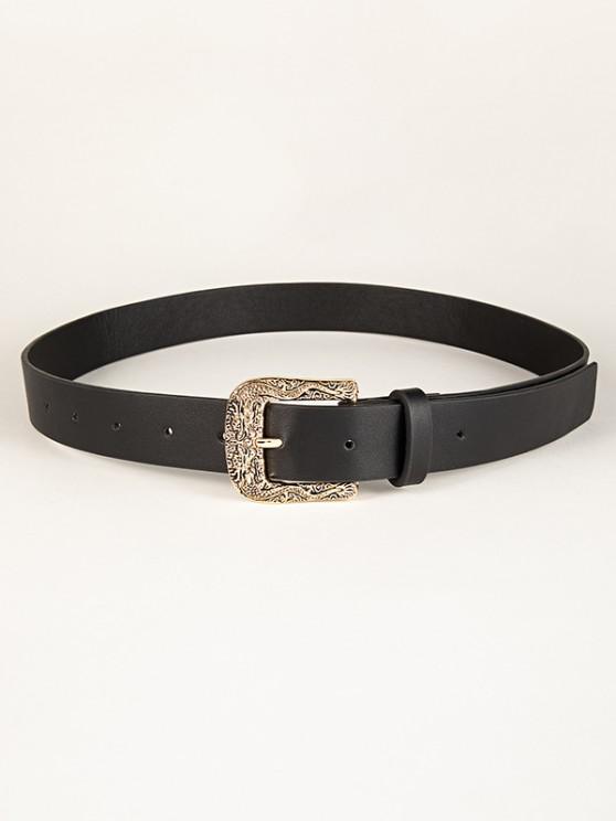 fancy Retro Engraved Dragon Buckle Belt - BLACK