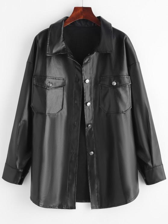unique Faux Leather Front Pocket Shacket - BLACK XS