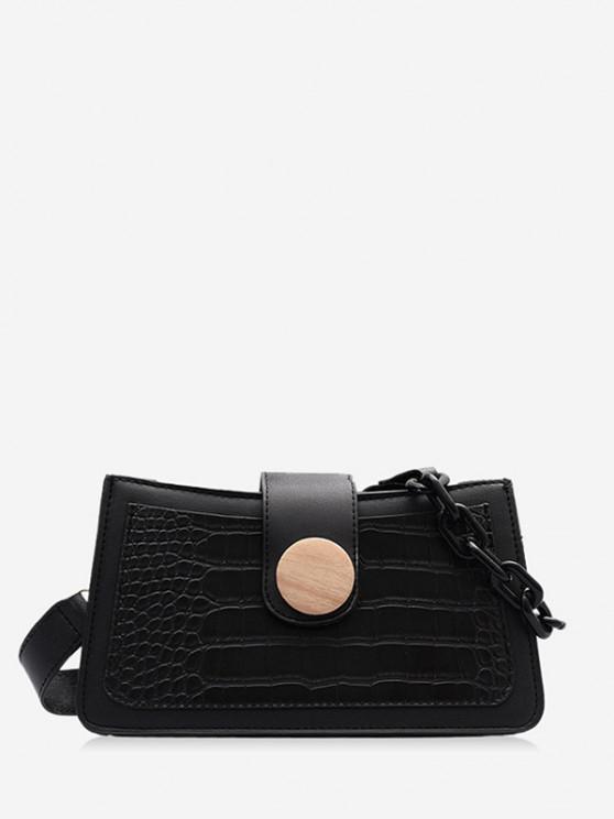 latest Button Chain Rectangle Shoulder Bag - BLACK