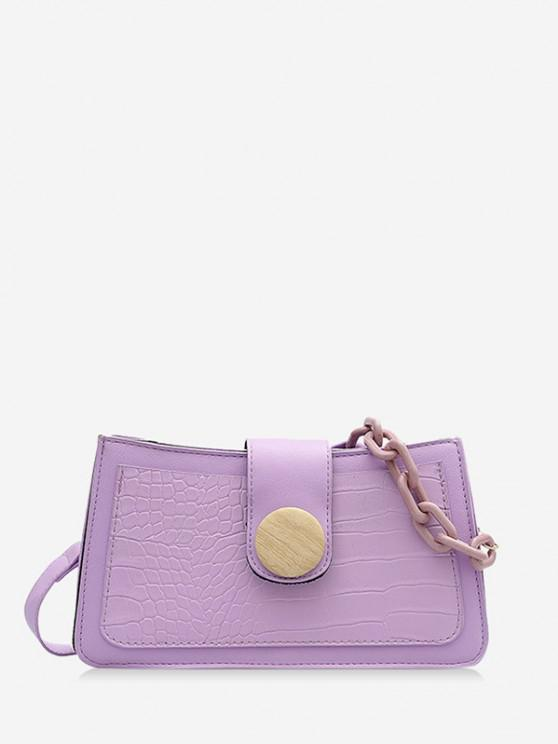 chic Button Chain Rectangle Shoulder Bag - MAUVE