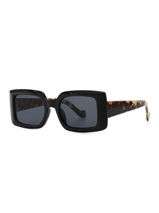 new Retro Rectangular Wide Rim Sunglasses - BLACK