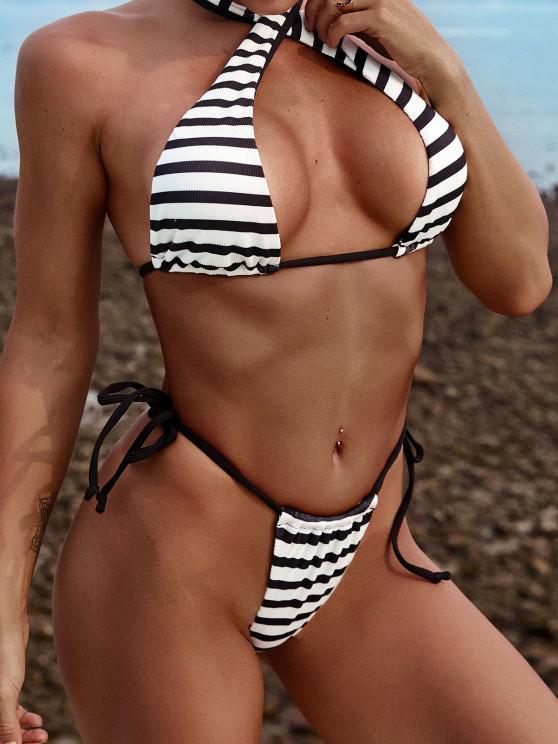 ZAFUL Convertible Striped Ribbed Tie Side Bikini Swimwear - أسود S
