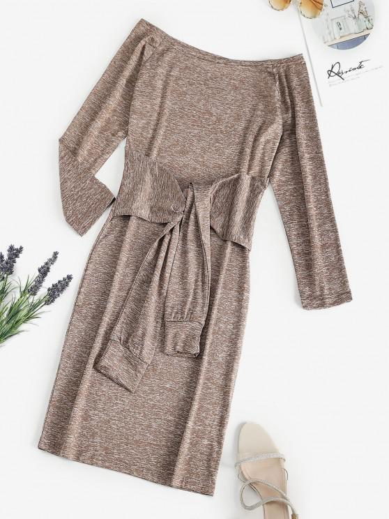 trendy Space Dye Off Shoulder Tied Waist Tee Dress - LIGHT COFFEE L
