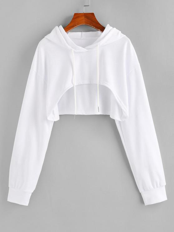 hot ZAFUL Open Bust Drop Shoulder High Low Hoodie - WHITE L