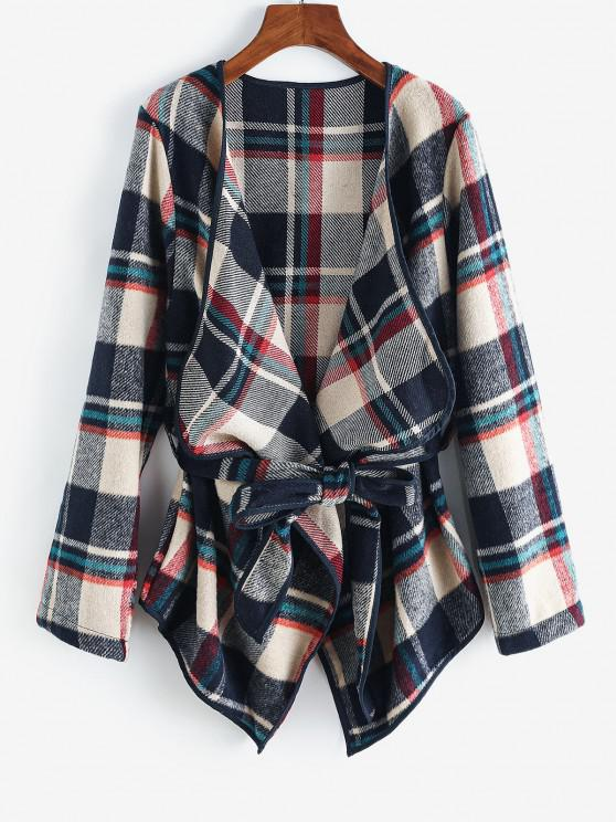 Contrast Piping Belted Plaid Wool Blend Coat - ازرق غامق L