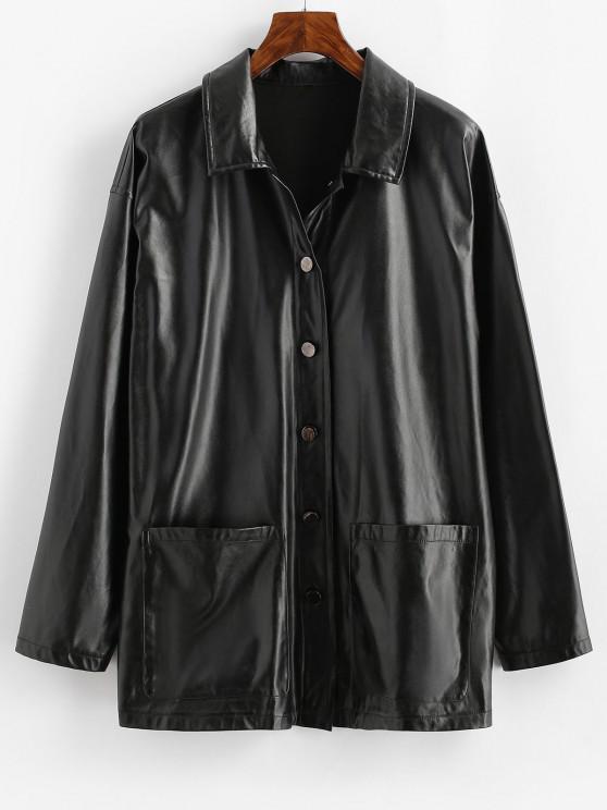 best ZAFUL Faux Leather Pocket Single Breasted Jacket - BLACK S