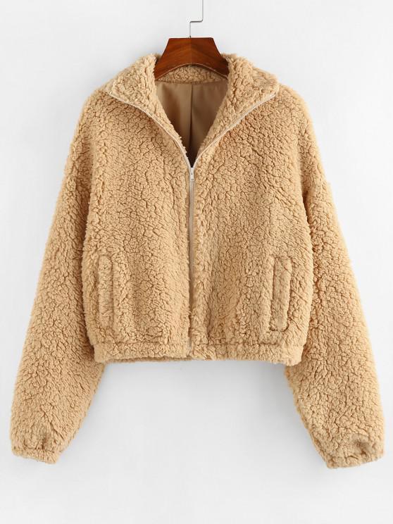 lady ZAFUL Drop Shoulder Zip Up Teddy Coat - LIGHT COFFEE XL