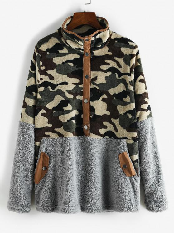 Camouflage Snap Button Pockets Fluffy Sweatshirt - اللون الرمادي XL
