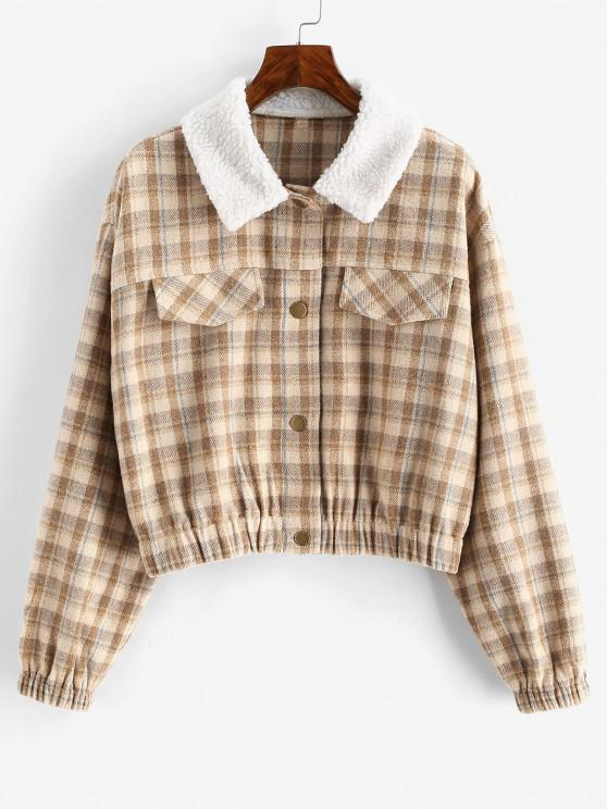 outfits ZAFUL Plaid Teddy Collar Flap Detail Jacket - APRICOT S
