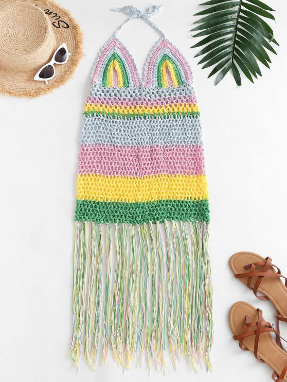 lady Halter Crochet Stripe Fringed Cover Up Dress - MULTI ONE SIZE