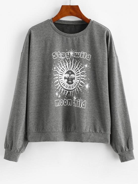 ZAFUL Sun Graphic Moon Child Drop Shoulder Sweatshirt - Dark Slate Grey XL