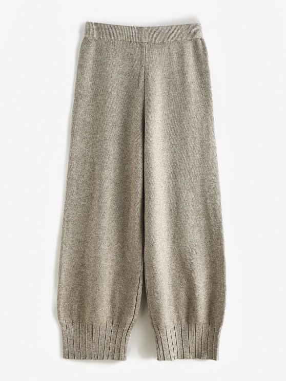 Pantalon Droit Côtelé en Tricot à Taille Haute - Abricot Taille Unique