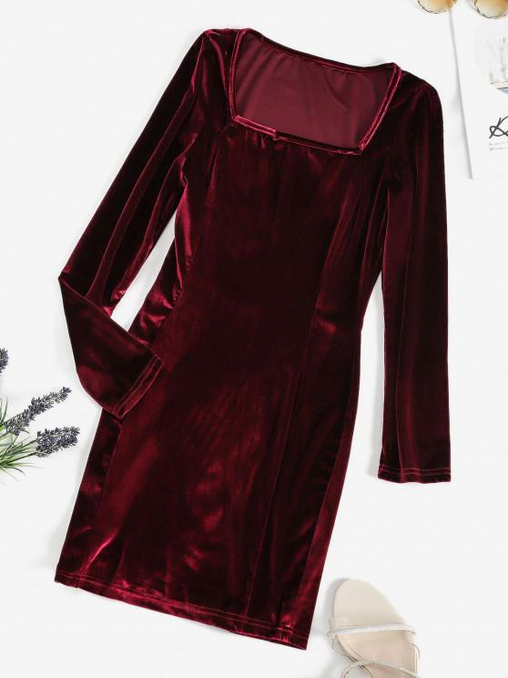 fashion Square Neck Velvet Bodycon Mini Dress - RED WINE M