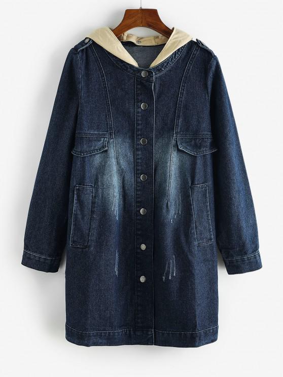 trendy Distressed Detachable Hood Combo Denim Coat - DENIM DARK BLUE XL
