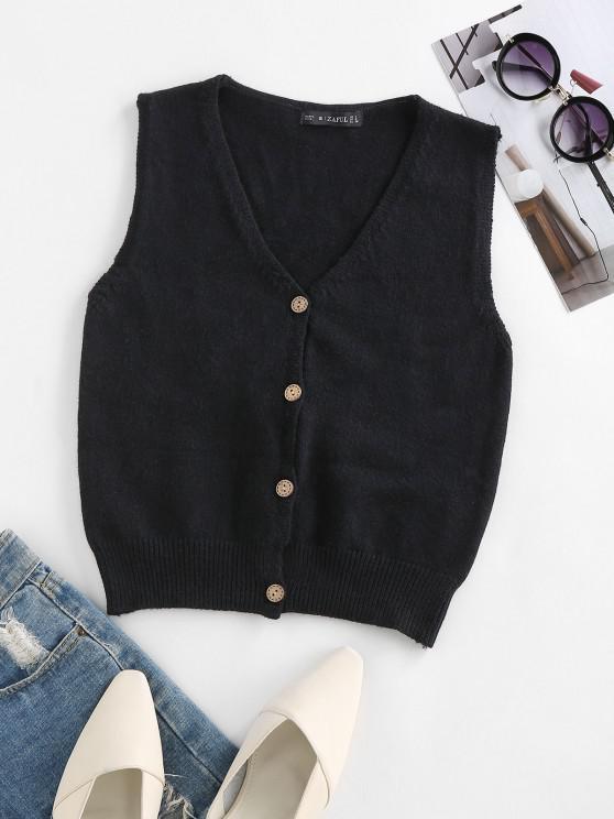hot ZAFUL Button Up Rib Trim Sleeveless Cardigan - BLACK L