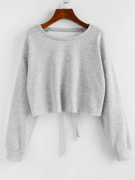 Cut Out Back Tie Cropped Sweatshirt - بلاتين M