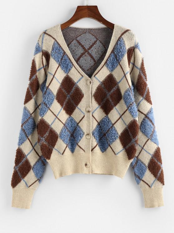 latest ZAFUL Argyle Button Up V Neck Cardigan - MULTI M