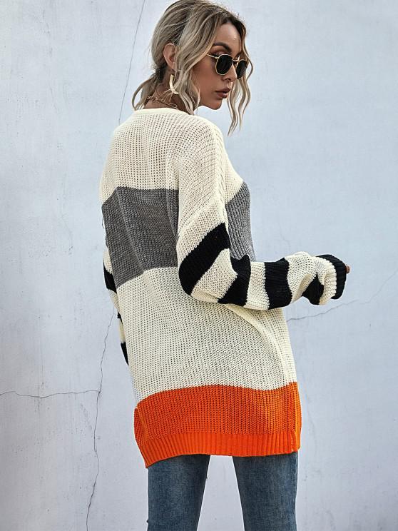 Drop Shoulders Colorblock Oversized Sweater
