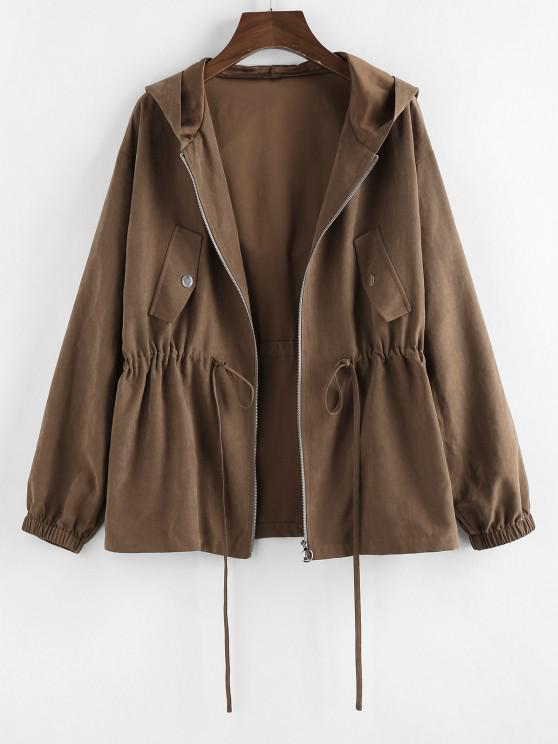women's ZAFUL Hooded Drop Shoulder Drawstring Waist Jacket - COFFEE L