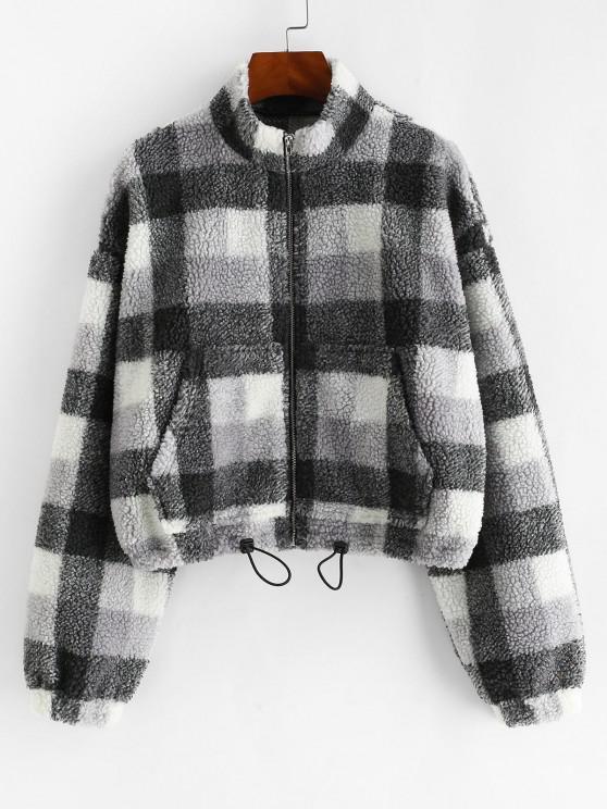 affordable ZAFUL Plaid Drop Shoulder Drawstring Teddy Jacket - BLACK L