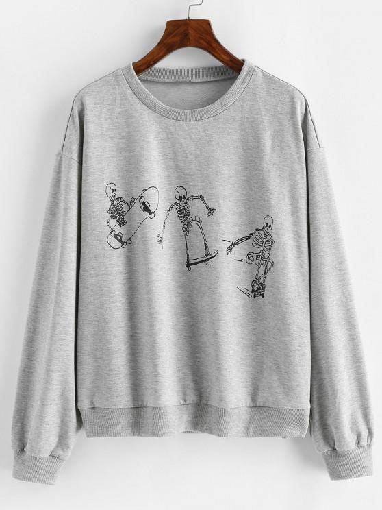 ZAFUL Halloween Funny Skeleton Print Drop Shoulder Sweatshirt - رمادي فاتح S