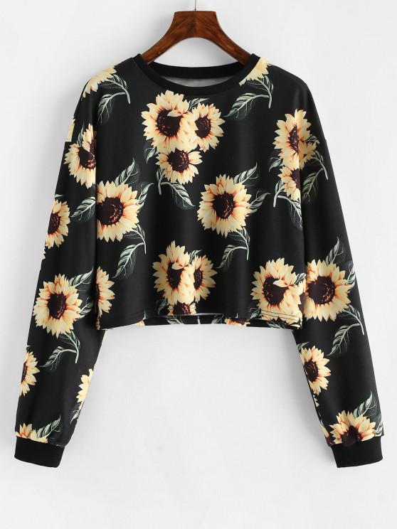 womens ZAFUL Drop Shoulder Sunflower Pattern Short Sweatshirt - BLACK S