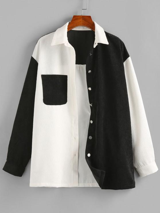 buy ZAFUL Corduroy Two Tone Pocket Shirt Jacket - MULTI-A L