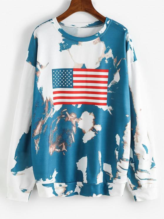 Sudadera con Patrón de Bandera Americana y Cordones - Azul Profundo S