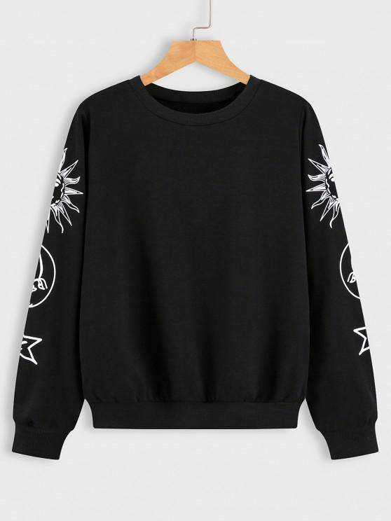 lady Sun Moon and Star Graphic Sweatshirt - BLACK S