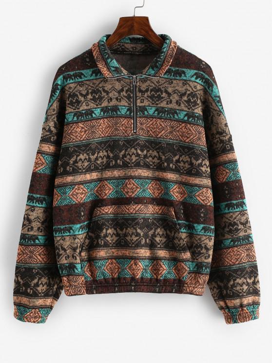 chic ZAFUL Fleece Lined Ethnic Half Zip Drop Shoulder Sweatshirt - MULTI-A M