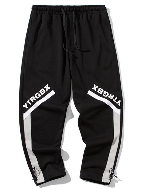 Pantalon Lettre Imprimée en Blocs de Couleurs Jointif - Noir M