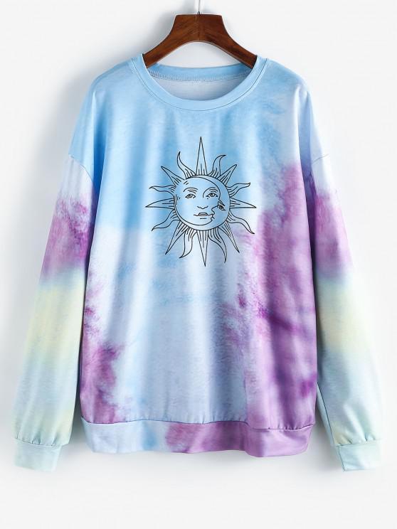 womens Sun Graphic Tie Dye Oversize Sweatshirt - LIGHT SKY BLUE S