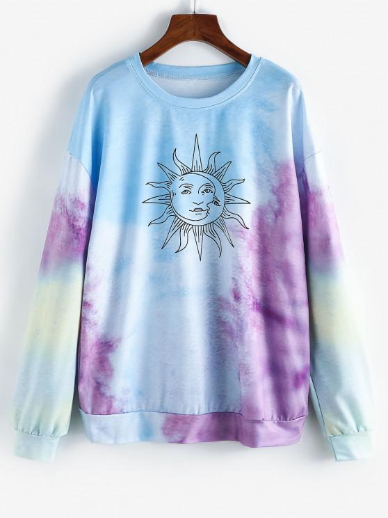 ladies Sun Graphic Tie Dye Oversize Sweatshirt - LIGHT SKY BLUE M