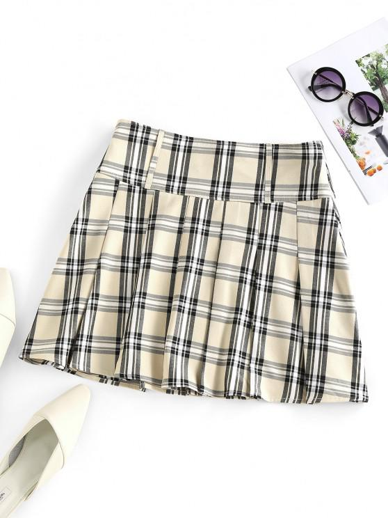 women's ZAFUL Pleated Plaid Mini Skirt - LIGHT COFFEE S